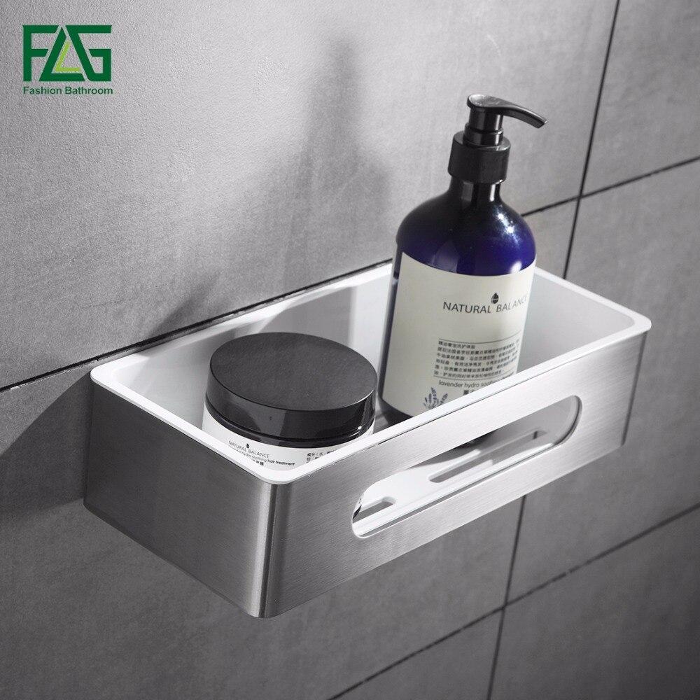 FLG Wall Mount Single Tier Bathroom Shelf Stainless Steel ABS Plastic Bathroom Holder Shower Room Basket