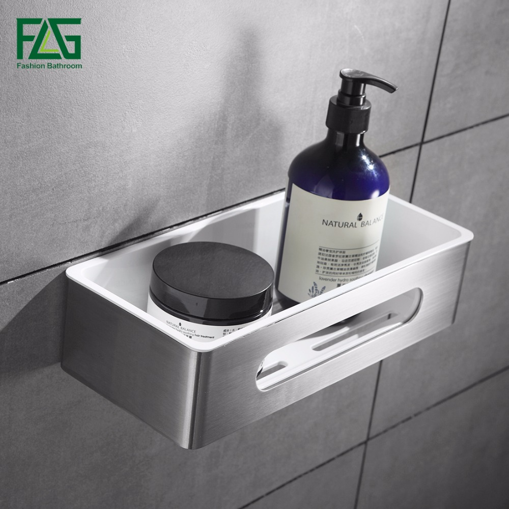 FLG Wall Mount Single Tier Bathroom Shelf Stainless Steel & ABS Plastic Bathroom Holder Shower Room Basket Bathroom Accessories гибкий кабель для мобильных телефонов for apple 20pcs lot usb flex ipad 2 ipad 6 dhl ems air 2