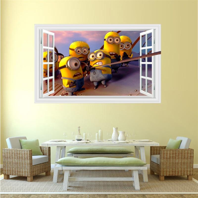 3 Minions climb window anime wall decals blue Sky white Cloud 3d ...