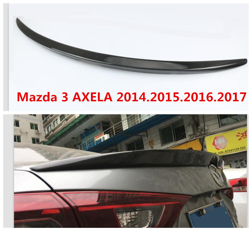 Carbon fiber <font><b>Spoiler</b></font> For <font><b>Mazda</b></font> <font><b>3</b></font> AXELA 2014 2015 2016 2017 <font><b>2018</b></font> 2019 High quality Rear Wing <font><b>Spoilers</b></font> Auto Accessories image