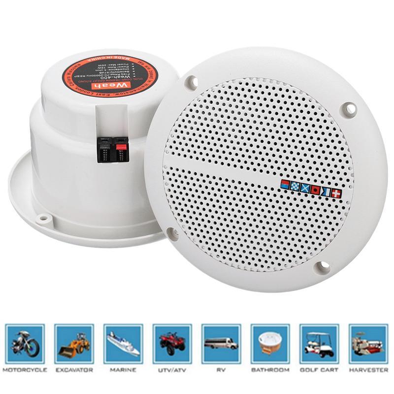 AUTO -1 Pair Waterproof 25W Full Range Marine Boat Ceiling Wall Speakers Lawn Garden Water Resistant Install Speaker