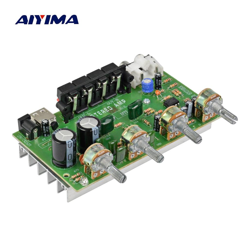 Aiyima versterker amplificadores de áudio 12 v 2.1 placa de amplificador de computador em casa usb amplificador de potência