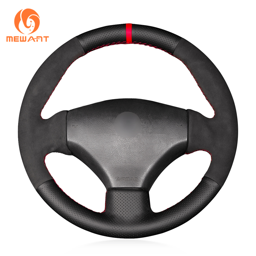MEWANT Black Genuine Leather Black Suede Car Steering Wheel Cover for Peugeot 206 2003 206 CC 2005 diameter 38cm carbon fiber car steering wheel cover for peugeot 206 2003 206 cc 2005 car styling