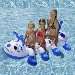 186*116cm Children Inflatable Caterpillar Animal Ride On Water Toys Swimming Pool Float Three Circle Famlity Summer Outdoor Toys