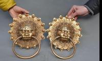 671115337 10 China Brass Fengshui Folk Dragon Beast Lion Head Door Latch Door Knocker Pair