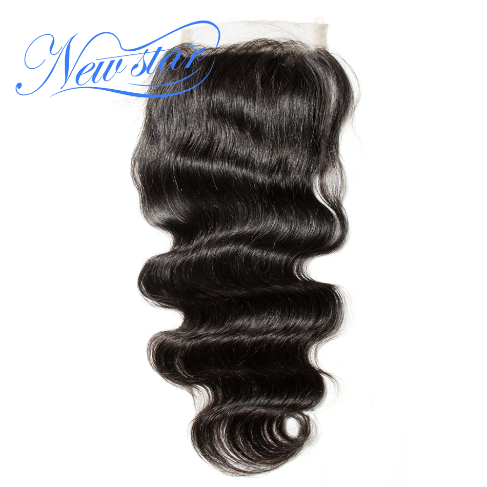 Lace Closures Human-Hair Free-Part Body-Wave Hair-5x5 Natural-Color Brazilian 100%Virgin