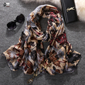 2016 new style fashion hot sale leaves print voile woman scarf long square sun protection shawl ladies women wrap  free shipping