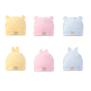 3 color eslatic headscarf double layer cotton baby caps&hats with baby bibs set pink yellow and sky blue for newborn infant 1