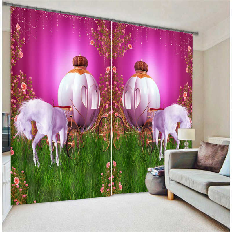 Modern Fashion pumpkin carriage Printing 3D Blackout Curtains For Bedding room Living room Hotel Drapes Cortinas Para SalaModern Fashion pumpkin carriage Printing 3D Blackout Curtains For Bedding room Living room Hotel Drapes Cortinas Para Sala