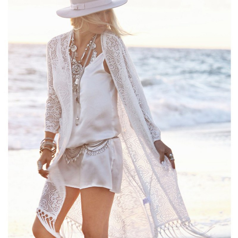 Boho Wanita Fringe Lace kimono cardigan White Tassels Beach Cover Up Cape Tops Blouses damen bluze
