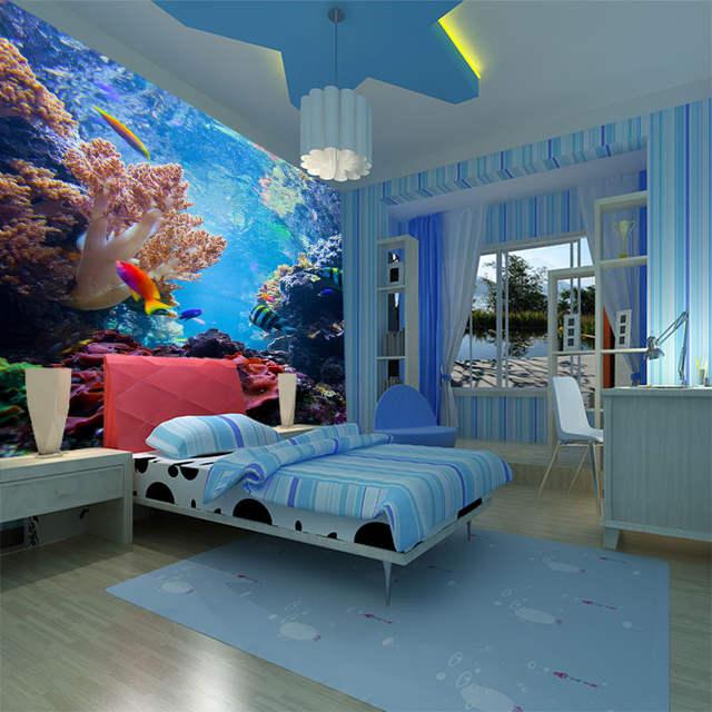 Beibehang Large Scale Murals Wallpaper Underwater World Theme Room Marine Fish Children S