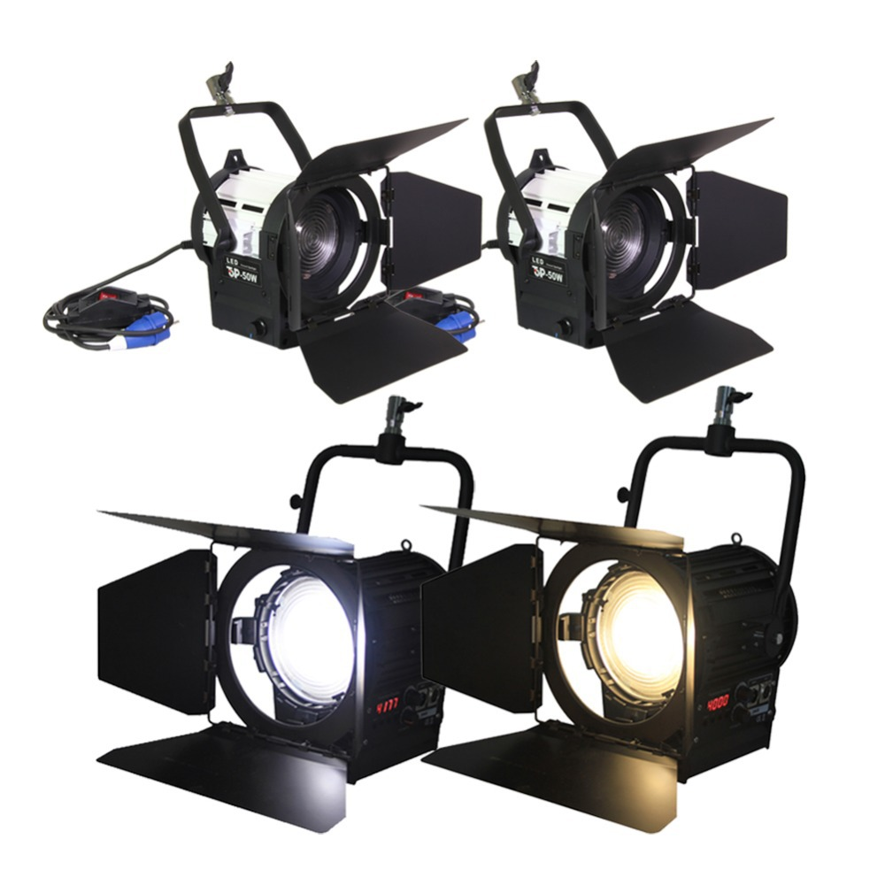 200Wx2 Bi-colour +50Wx2 Daylight LED Fresnel Spot Light Studio For Movie Camera