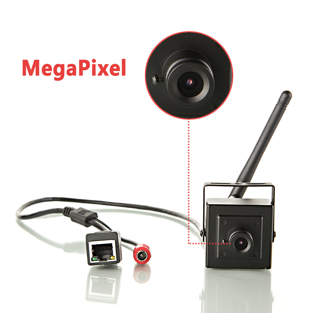 Super Mini WIFI IP Box Camera With Smallest 1.0MP Home Security Cam & Max 720P Video & ONVIF Compatiable for Network Recording