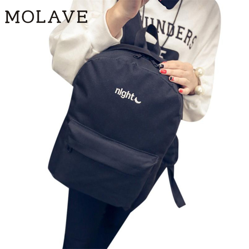 MOLAVE Backpack women backpack Solid backpacks female zipper Simple School bag Embroider ...