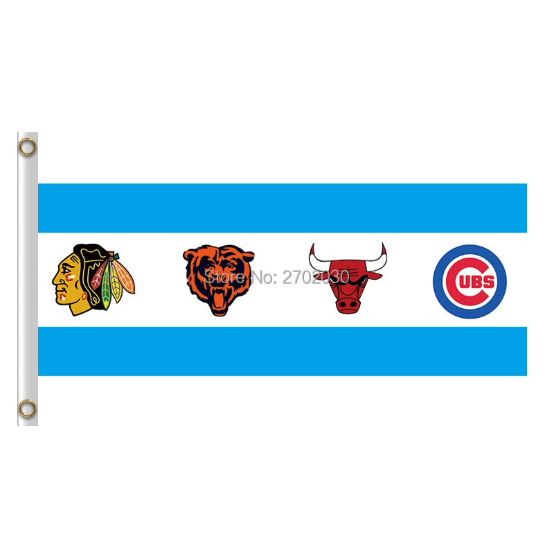 Chicago Bears Cubs Blackhaw Flag Banners Football Team Flags 3x5 Ft Super Bowl Champions Banner
