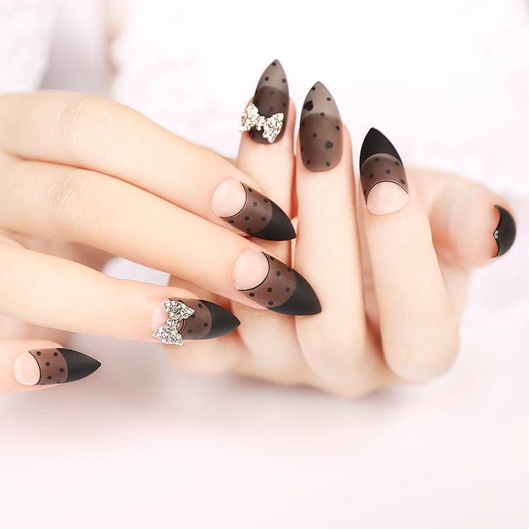 Online Shop Matte Surface False Nails Tips Clear Black Acrylic Fake ...