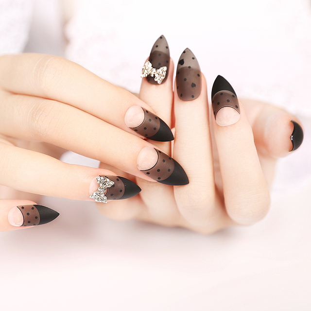 black acrylic stiletto nails #gk08