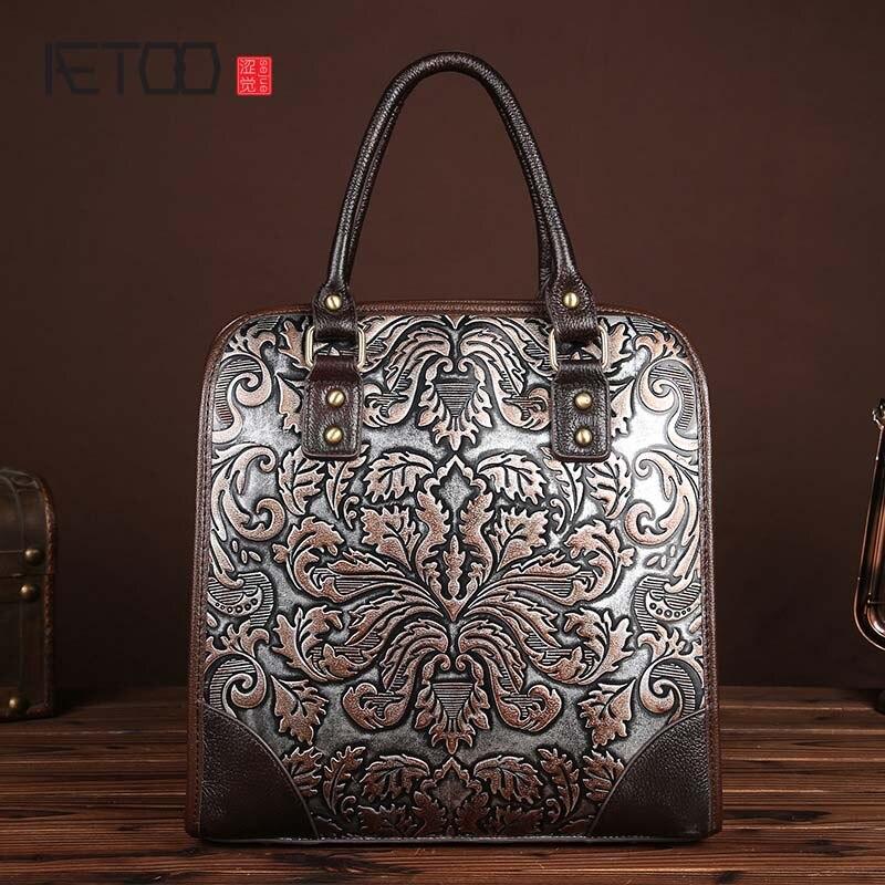 Bagaj ve Çantalar'ten Üstten Saplı Çanta'de Yeni Vintage Deri Çanta Çanta fırça rengi moda çantalar eğlence evrak çantası kabartmalı Teknoloji'da  Grup 1