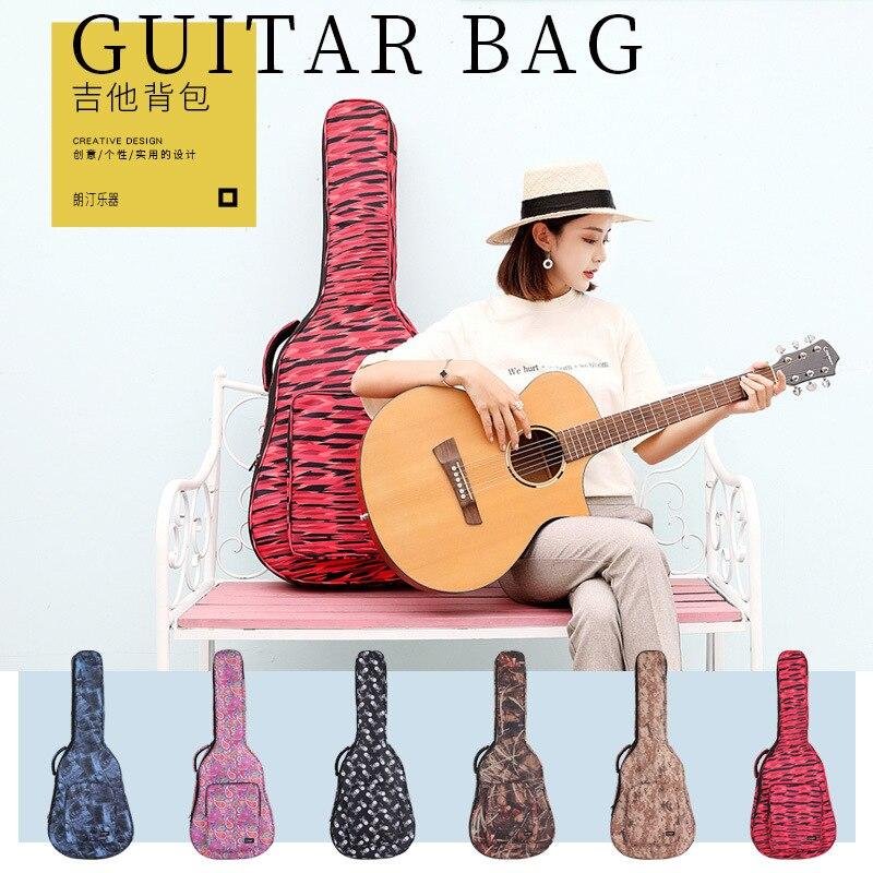 Sac de piano de guitare folklorique imprimé 41 pouces sac à dos de guitare en bois de bande dessinée épaule plus sac de piano en coton