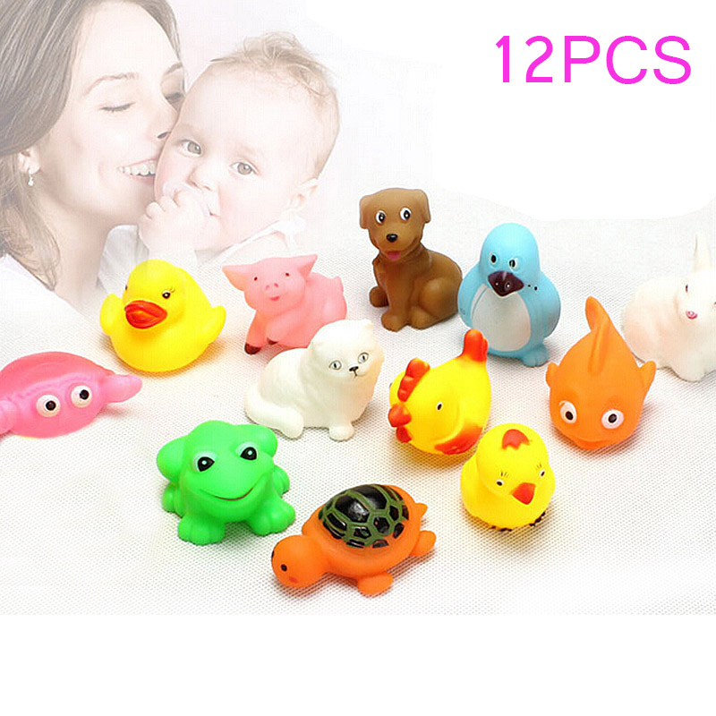 13PCS Lovely Rubber Animals With Sound Toys for Baby Shower Bath 88 @ NSV775