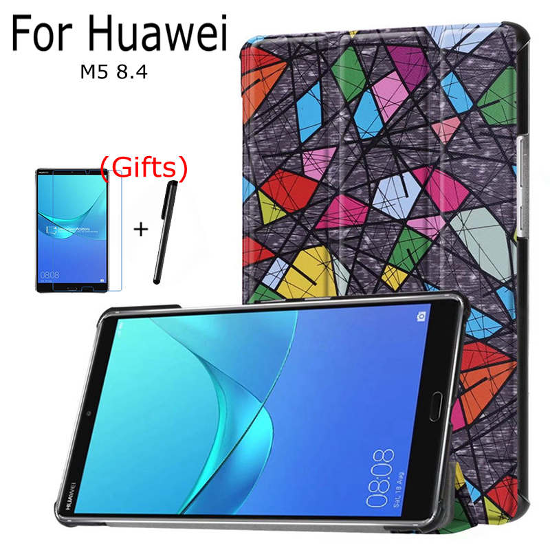 Case for Huawei Mediapad M5 8.4 Tablet, iBuyiWin Stand Smart PU Leather Funda Cover With Auto Sleep/Wake Up+Gifts silicone with bracket flat case for huawei mediapad m5 8 4 inch