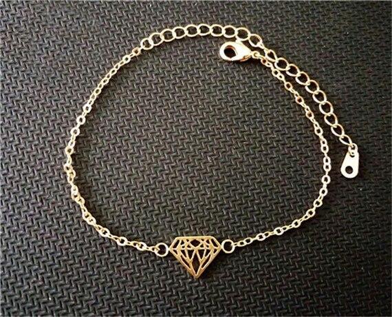 Bransoletka minimalistyczna diament gold silver