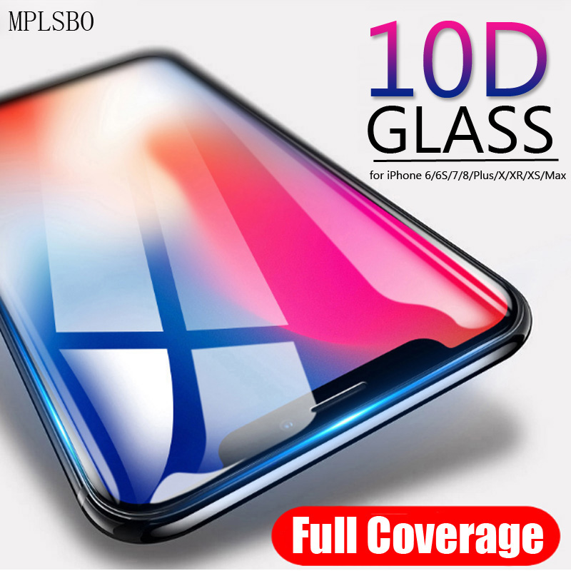 MPLSBO 10D Protective Glass for iPhone 7 Screen Protector iPhone 8 XR XS Max Tempered Glass on iPhone X 6 6s 7 8 Plus XS Glass