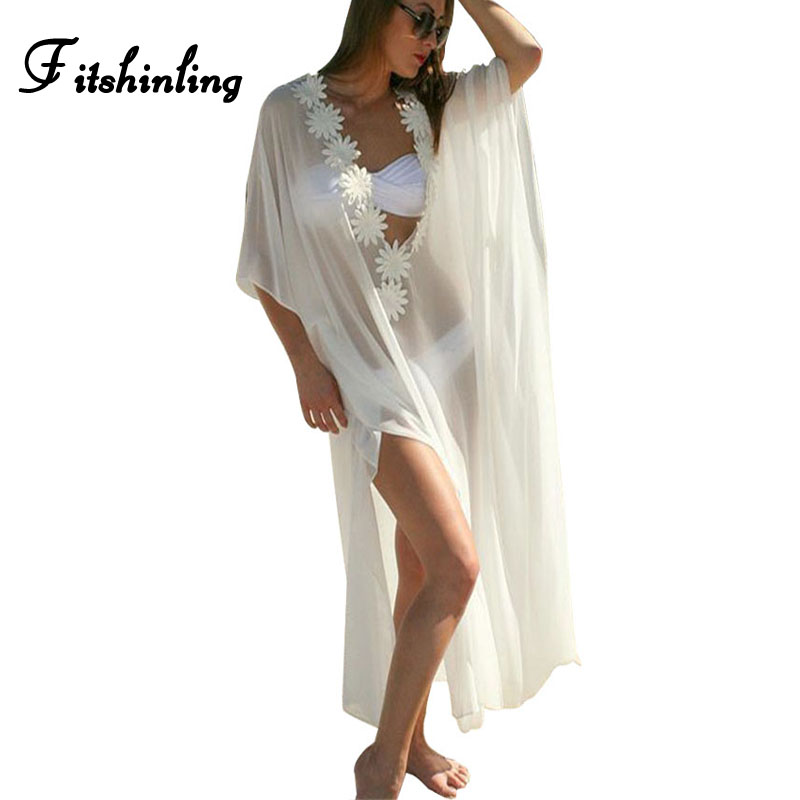 abffc206a17 Fitshinling Chiffon long beach dress flower hollow out cloak sleeve white  maxi drseses for women slit sexy hot swimwear pareos-in Dresses from  Women s ...