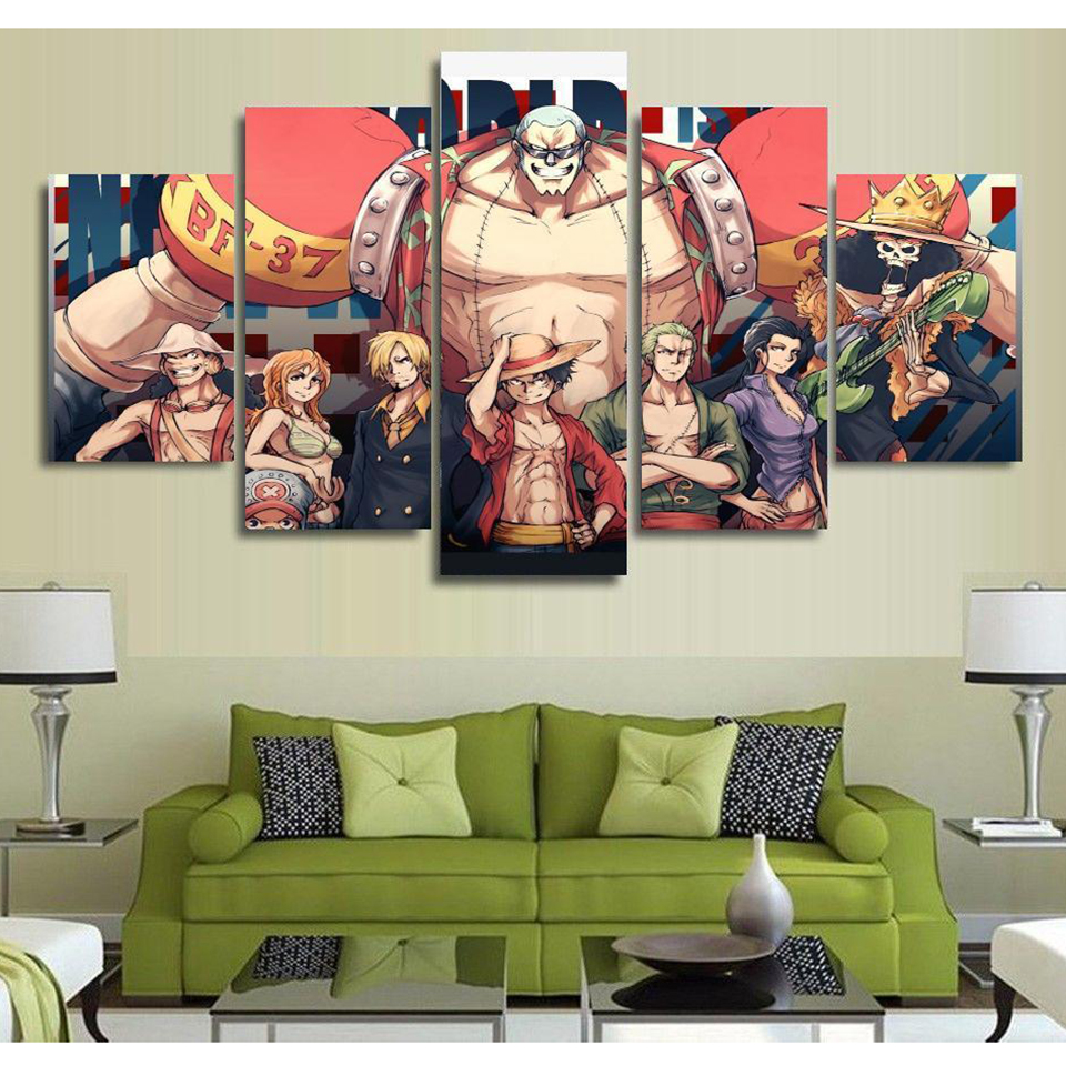 Modern Poster Frame Wall Art Home Decor 5 Panel One Piece Character Living Room Canvas HD Print Modular Pictures Painting