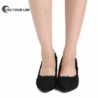 Elegant black Lace flower formal dress Shoes ultra High Heels Party Shoes Platform thin Heels blanket formal dress Shoes 12CM