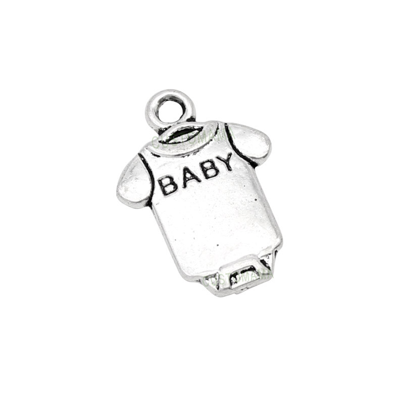 100pcs-Baby Charms Antique Silver Baby Onesie Coverall Cloth Charms 17x12mm