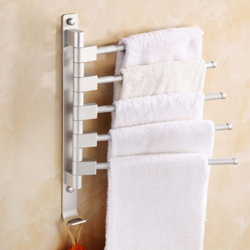 5/4/3/2 Arm Rotating Towel Rack with hook European Space Aluminium towel holder Wall-mounted Kitchen Cleaning Cloth storage rack