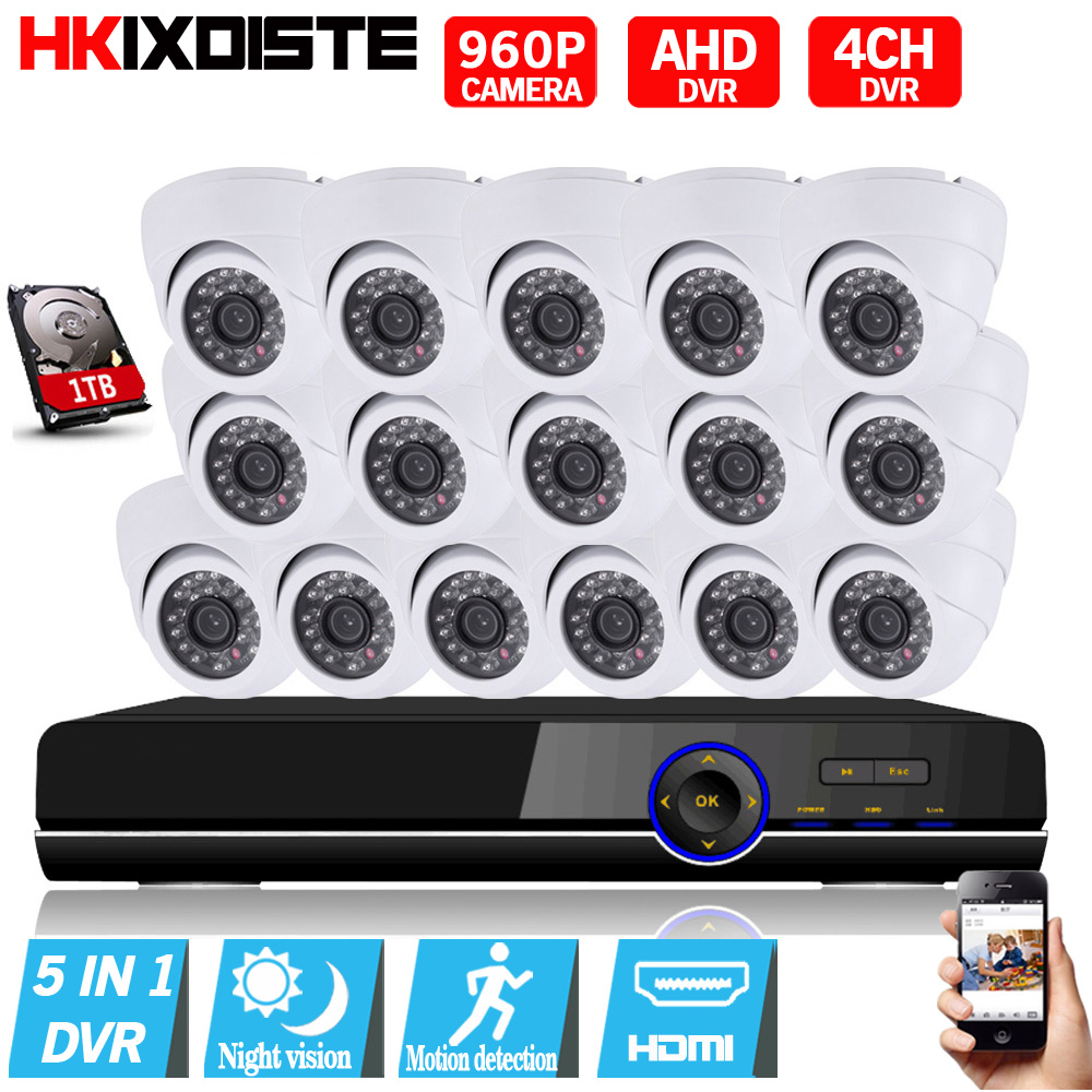 16CH 1080P AHD DVR Kit With 24Pcs Leds 1.3MP IR NightVision Mini CCTV Indoor Dome AHD Ca ...