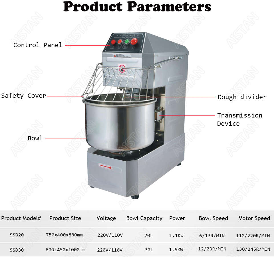 SSD20 20L/30L electric commercial 2-speed spiral dough mixer food mixer machine 5