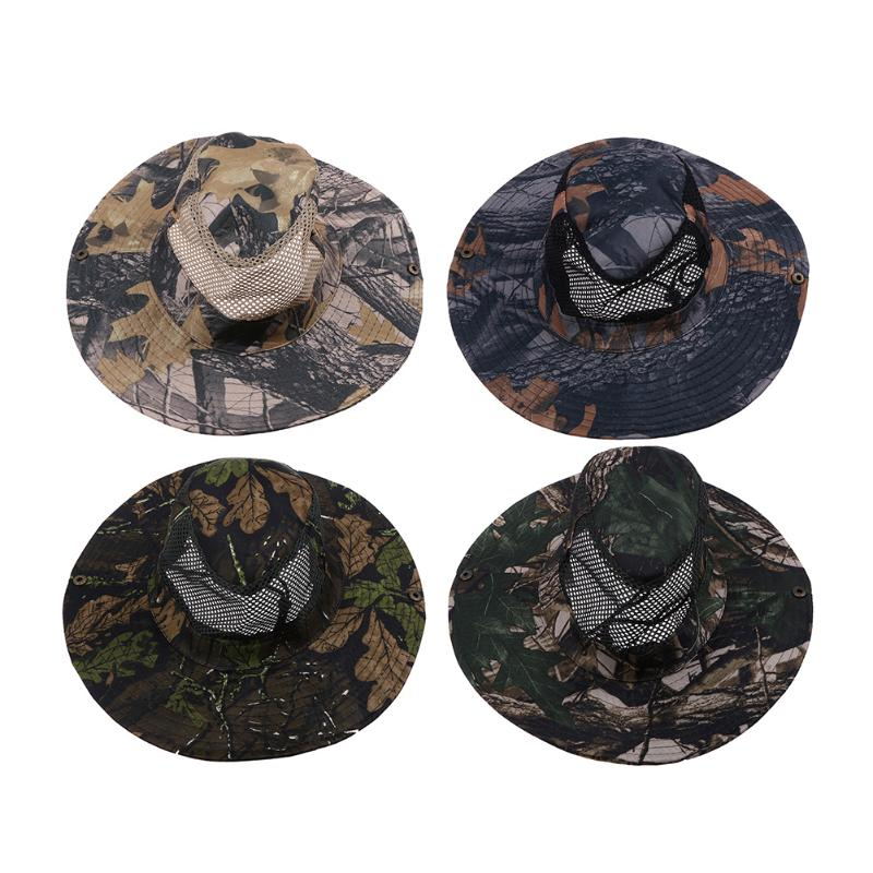 Unisex Camouflage Mesh Camping Fishing Hat Male/Female Breathable Mountaineer Hiking Sun Hat Cap Bucket Hat for Jungle Exploring