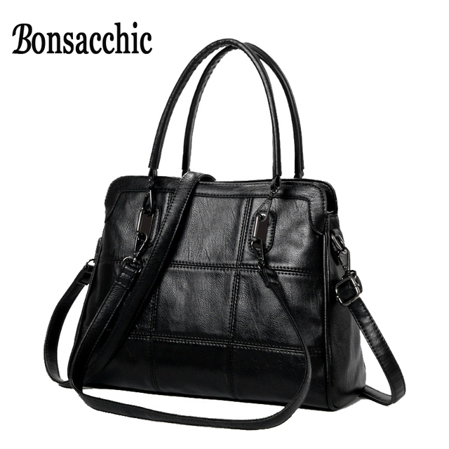 dc4d58204e8 Fashion Women s Handbags Large Leather Bags Woman Black Tote Bag Lady s  bolsa feminina couro Tote Handbag Gray sac femme