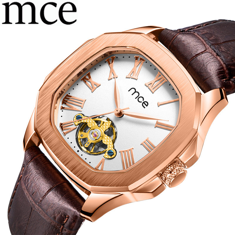 Men's Watches Men Clock Automatic Mechanical Square Leather Watches Relogio Masculino Skeleton Hollow MCE Man Tourbillon Watch