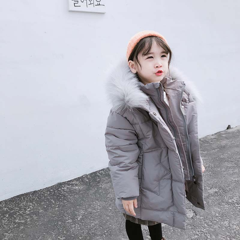 DFXD High Quality Winter Children Girls Long Down Parka Coat Fashion Gray/Black Thick Fur Collar Hooded Warm Outwear 2-8Years black hooded lapel collar long sleeves sweaters coat