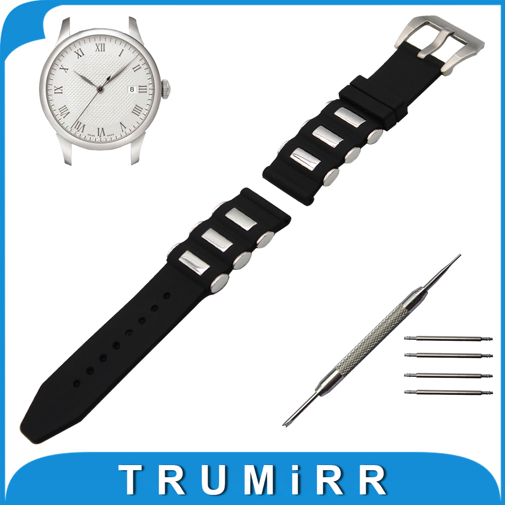 21mm 22mm 23mm 24mm Silicone Rubber Watch Band +Tool for Tissot 1853 T035 Stainless Steel Pre-v Buckle Strap Wrist Belt Bracelet 23mm 24mm silicone rubber watch band for tissot 1853 t035 t087 men stainless steel carved pattern buckle strap wrist bracelet