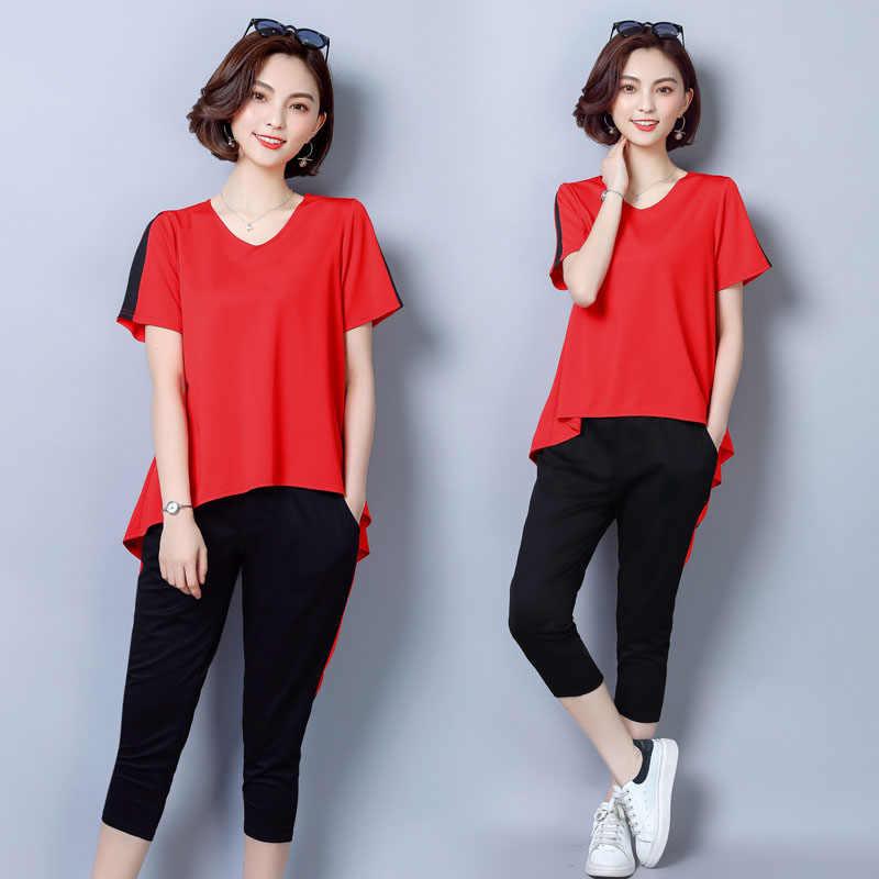 92f52ae4fa7 ... Высококачественный летний комплект из двух предметов женщины комплект  свободные блузки футболка Топы с короткими рукавами + ...