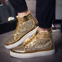 Mens Sports Skateboard Shoes Gold Ladies Sneakers High Top Comfortable Flat Shoes Sports Couple Trend Unisex Skate Boots Shoes
