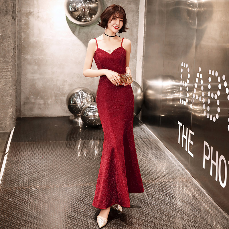 Wine Red   Evening     Dresses   2019 Elegant V-neck Sleeveless Sexy Formal Party Long Prom   Dresses   for Woman LF302