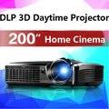 Luz del proyector 3D DLP beamer educación proyector 4000 ansi lúmenes 200 pulgadas gran pantalla proyector de cine en casa