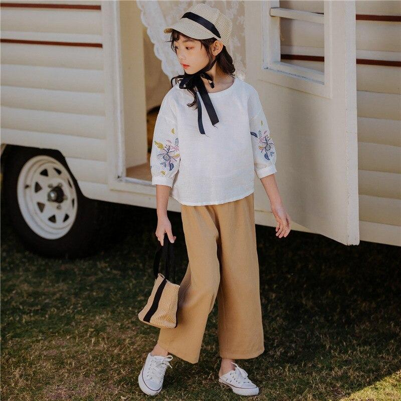Princesse filles vêtements ensembles printemps été enfants filles vêtements fleurs t-shirt + pantalon Babygirl tenues enfants filles costume décontracté