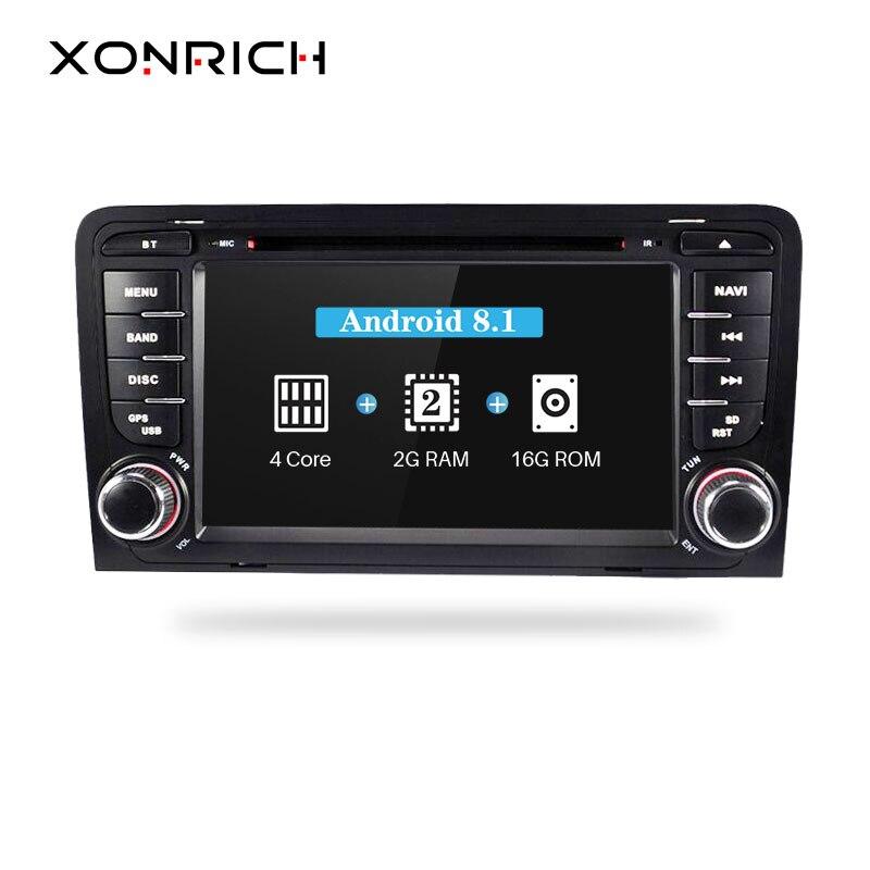 2 din Android 8.1 Lecteur DVD de Voiture autoradio Pour Audi A3 8 p S3 RS3 2003 2004 2005 2006 2007 2008 2009 2010 2011 Radio Multimédia