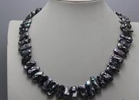 bjc 0002755 Fresh water pearl necklace Black biwa 8x12 10x21mm 18 (C0309)
