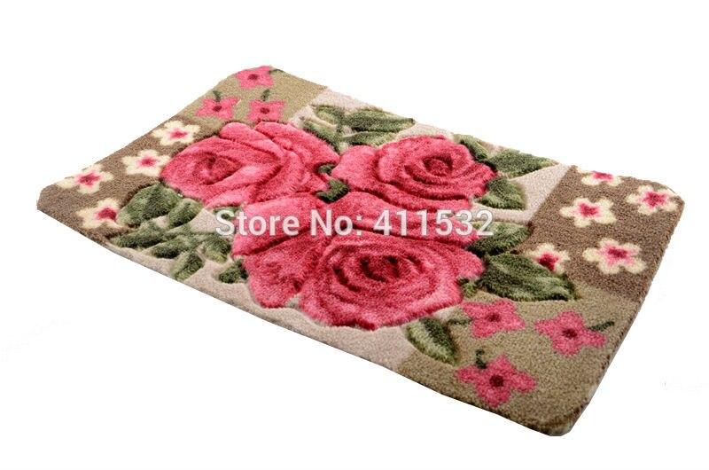 40*60cm 3D Beautiful Rose Floral Carpets Washable Carved Doormat Slip Mat  Kitchen Rugs Bathroom