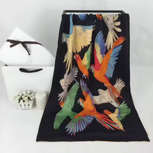 New Woman's Silk Scarf Length 71″ 180cm Shawl Bird Pattern Black Color 100% Silk The Original Scarf High Quality SBY167291