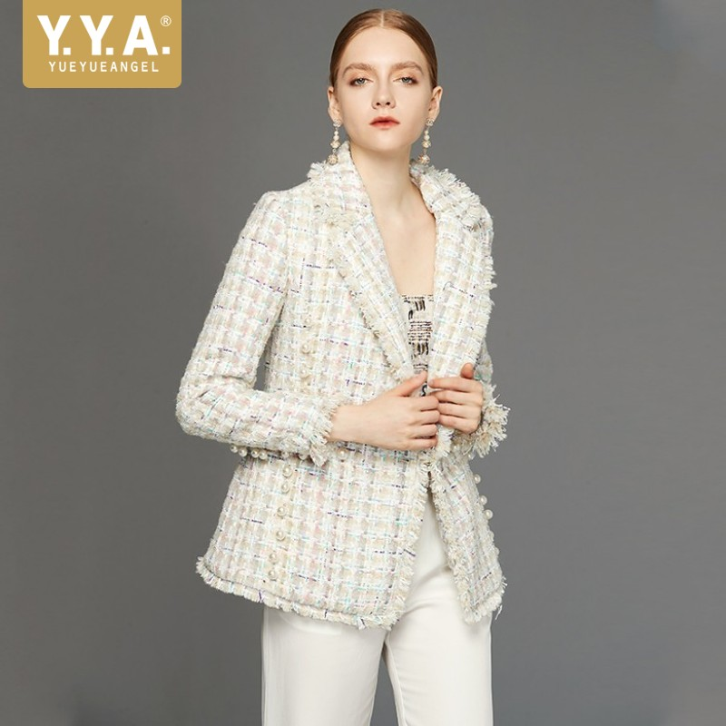 Luxury Woman Tassel Beige Coat Autumn Spring New Style Medium Length Tweed Jacket Ladies Party Elegant Plaid Wool Women Coats