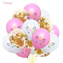 Taoup 12inch Unicorn Balloons Latex Confetti Happy Childrens Birthday Air Figures Party Unicornio